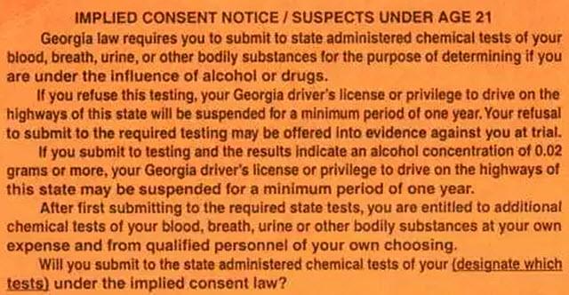 Georgia Implied Consent Notice