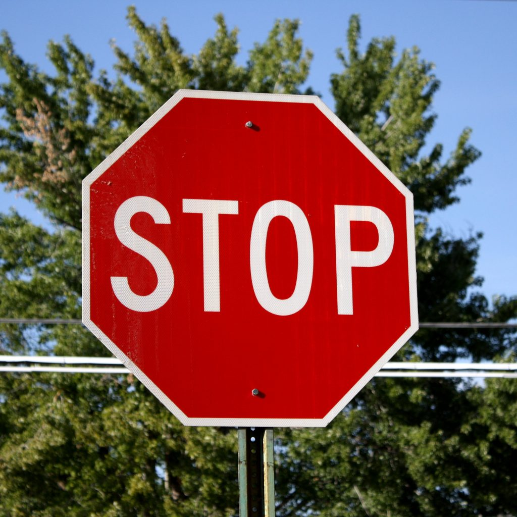 running a stop sign